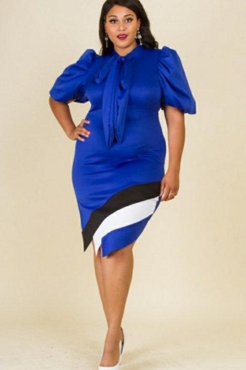 Royal Blue and Black Plus Dress