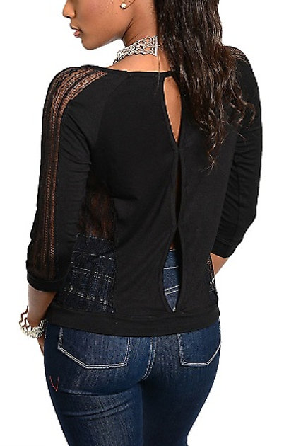 Black Top with Peek Sleeves