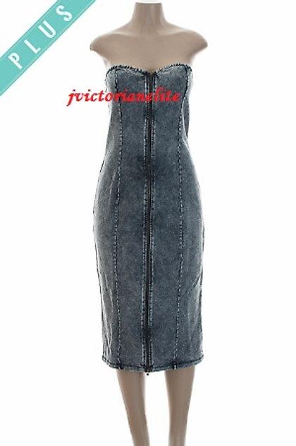Denim Zippered Plus Dress