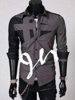 Slimming Trendy Shirt Collar Hit Color