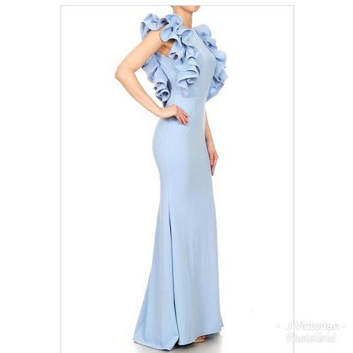 Light Blue Ruffled Dress