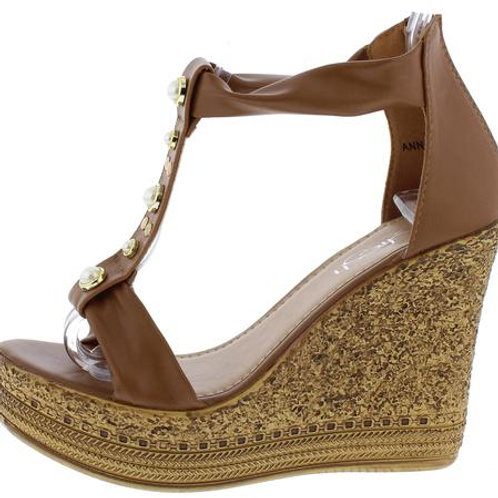 Brown Open Toe Wedge Sandal