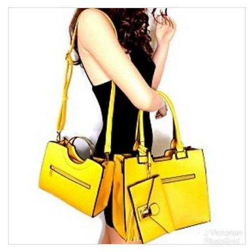 Yellow Three-Piece Handbags