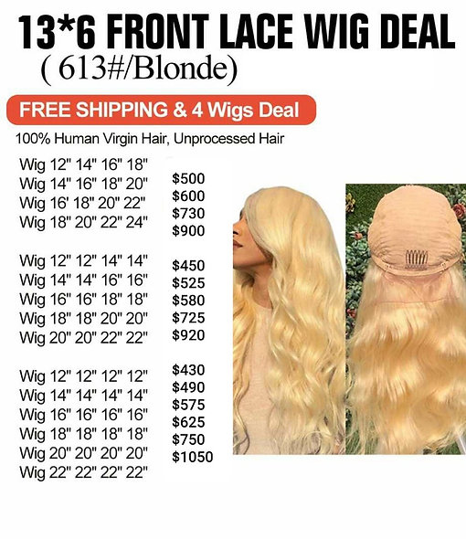 613 Front Lace 4 Wigs Deal