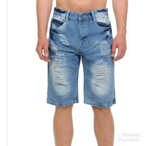 Light Denim Distressed Shorts