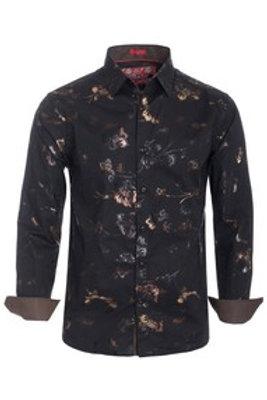 Black Designer Button Down Shirt #108