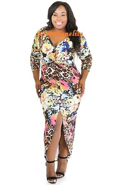Plus Multi Print Dress