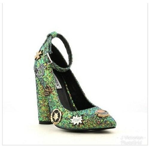Green Glittered Print Heels