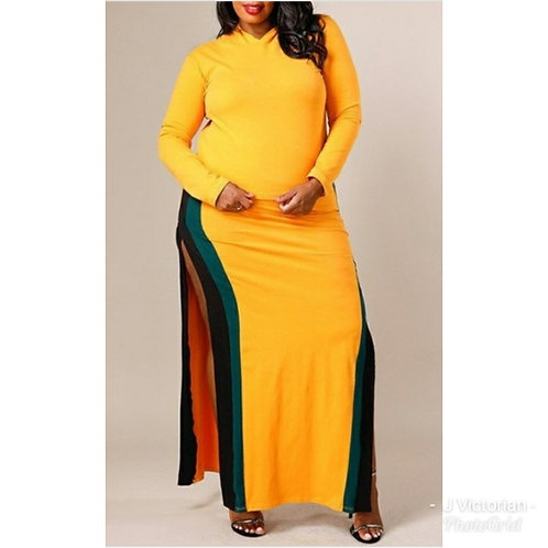 Yellow Hoodie Plus Dress