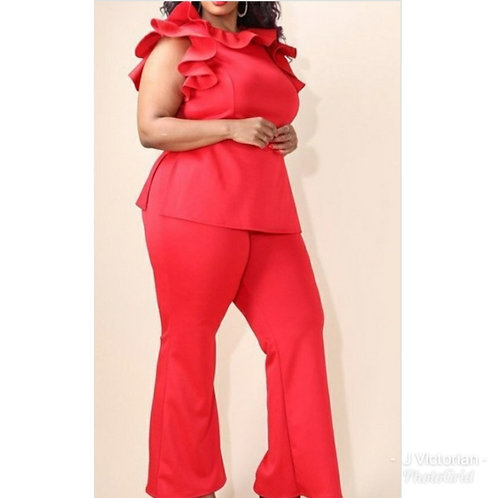 Red Ruffled Two Piece Set