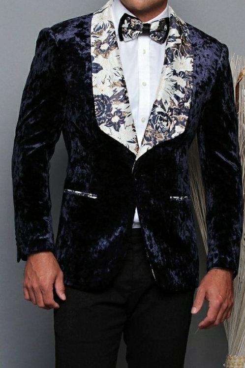 Navy Black Suede Men's Blazer with matching Bow Tie