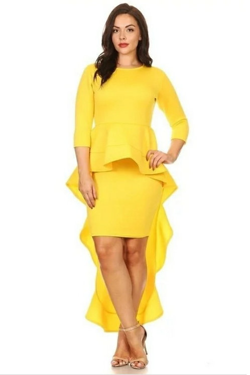 Yellow Mid Sleeve Plus Dress