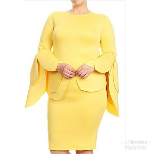 Yellow Wide Sleeve Plus Dress