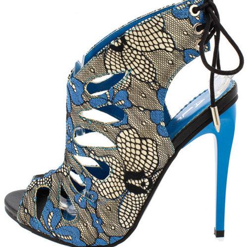 Blue Floral Strap Heels