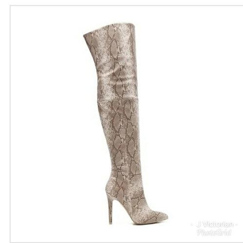Tan Snake Print Boots