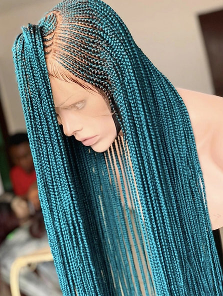 Turquoise Braided Hair Lace Wig