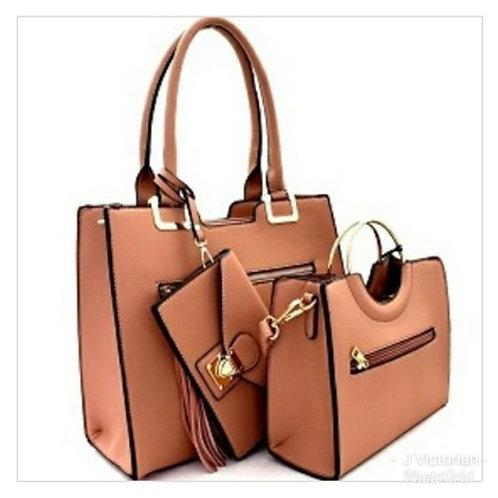 Tan Three-Piece Handbag Set