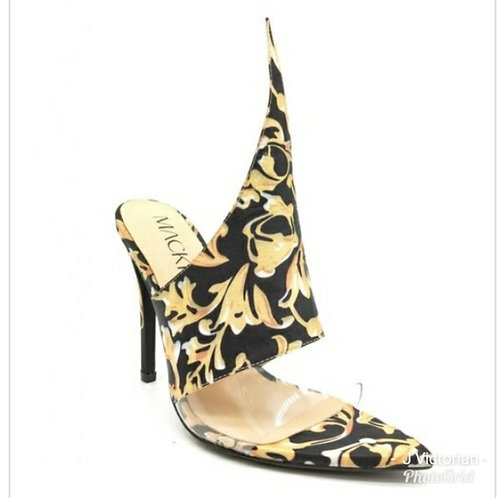 Gold & Black Print Heels