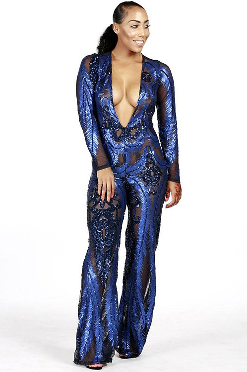 Navy & Black Sparkle Jumpsuit