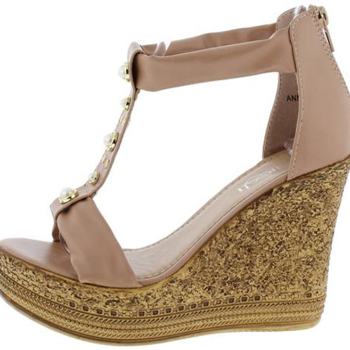 Taupe Open Toe Wedge Sandal