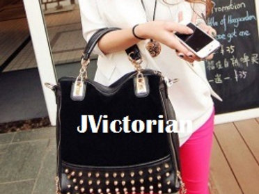 New women leather handbags work casual scrub rivet