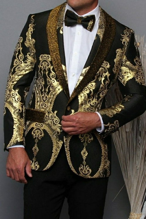 Gold Men's Blazer with matching Bow Tie