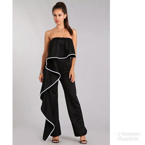 Black Ruffled Jumpsuit