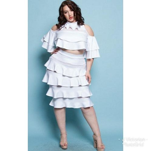 White Two Piece Plus Skirt Set