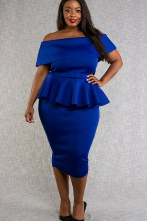 Royal Blue Off the Shoulder Plus Dress