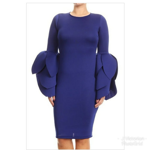 Blue Wide Sleeves Dress
