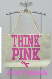 'THINK PINK' ROPE HANDLED TOTE BAG