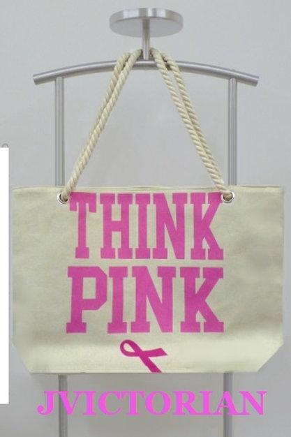 'THINK PINK' ROPE HANDLED TOTE BAG