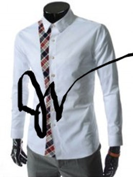 White button down Shirt with Plaid design