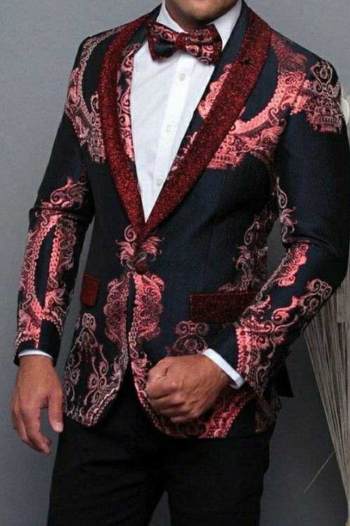 Red Men's Blazer with matching Bow Tie