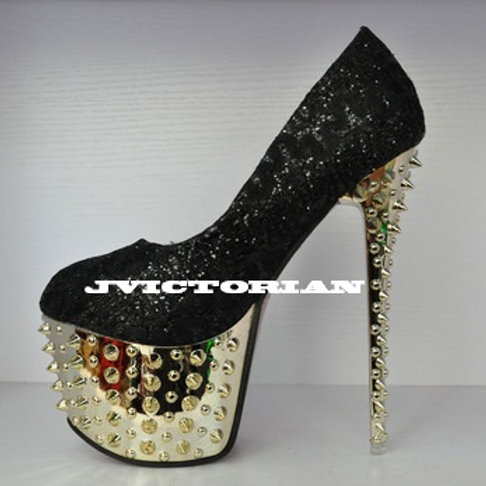Fashion Rivet high heels Pumps Rhinestone