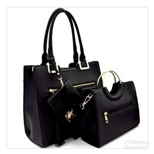 Black Three-Piece Handbag Set