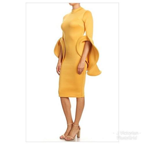 Gold Wide Sleeve Dress