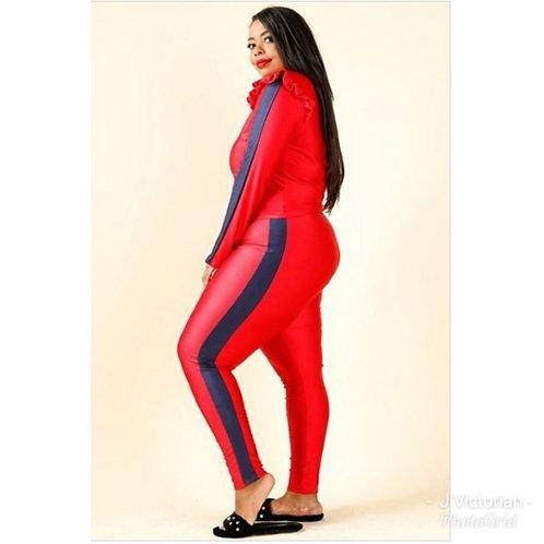 Red & Black Plus Jumpsuit