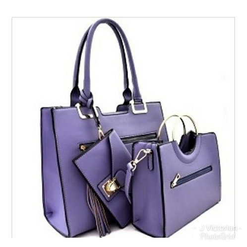 Purple Three-Piece Handbag Set