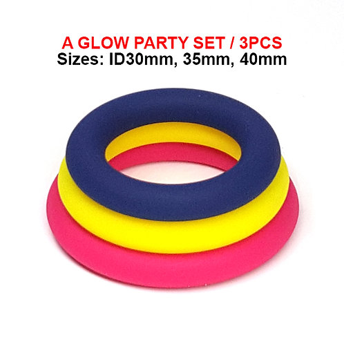 CR626 A Glow Party Set! Liquid Silicone Slim Donut Stretchable Cockring/ 3Pcs