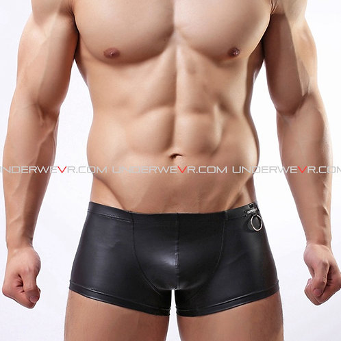 WOWHOMME - Men's Trunks With Metal Ring Leather Underwear WHC6