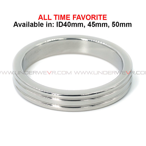 CR13 Stainless Steel Antiqued Fine Ribbed Slim Band Cockring