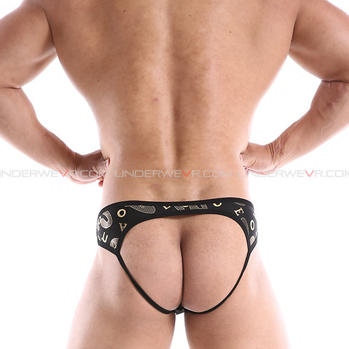 JJSOX - Men's Jockstraps Shiny Gold-Print String Jocks Underwear E1112A