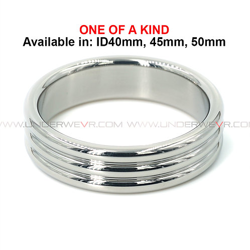 CR12 Stainless Steel Antiqued Thick Ribbed Cockring
