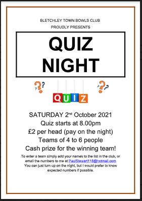 Quiz Night - 2nd October
