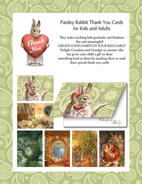 Paisley Rabbit Thank You Cards for Kids and Adults
