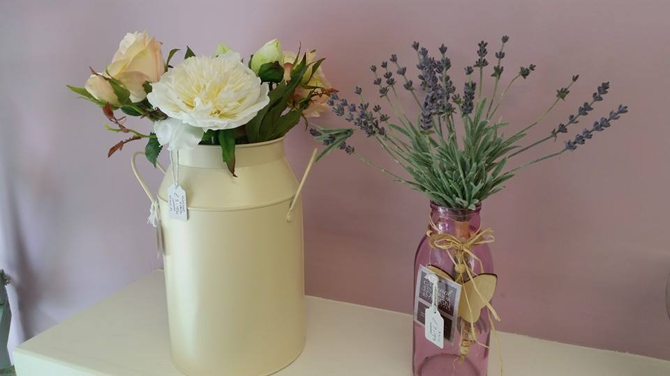 Silk flowers and containers
