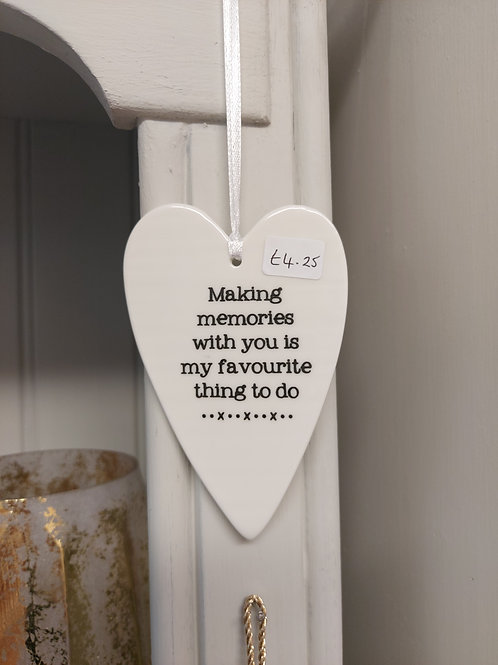 Memories ceramic hanging heart