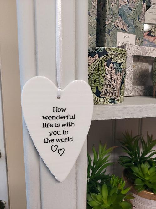How wonderful ceramic hanging heart