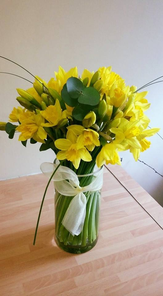 Spring Daffodils in glass vase